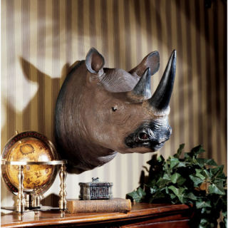 Black Rhinoceros Wall Trophy Sculpture