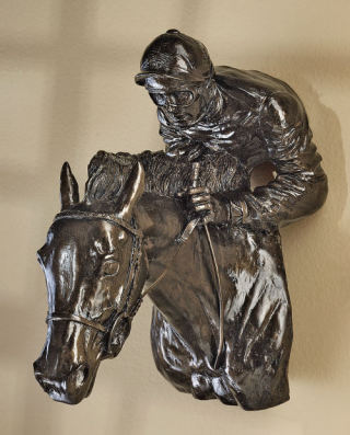 Horse & Jockey Wall Sculpture Relief
