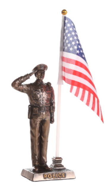 Police Officer with American Flag Sculpture
