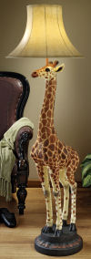 Heads Above Giraffe Floor Lamp Sculpture