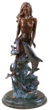 Mermaid with Dolphins Sculpture