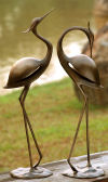 Stylized Garden Heron Pair Statues