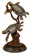 Sea Turtle Duet Brass Statue on marble base