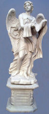 Saint Angelo's Angel Holding Cloth on base Sculpture Marble