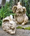 Angora Rabbits Pair of Statues
