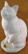 Cat Memorial Sitting Holds Ashes Statue