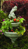 Blooming Saucers with Sprinkling Water Can Girl Garden Planter Sculpture