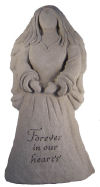Angel Statue Memorial Inscribed with Forever In Our Hearts