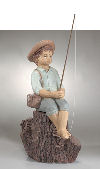 Huck Finn Boy Fishing Sculpture