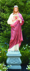Sacred Heart Of Jesus Life Size Sculpture & Pedestal