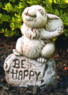 Rocky The Mouse Garden Statue that Says be Happy!