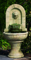 Arched Lion Finial Garden Wall Fountain