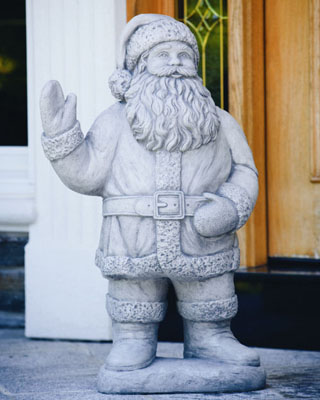 Santa Claus Cement Holiday Sculpture Cast Stone