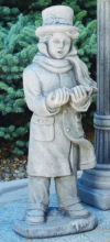 Caroler Boy Sculpture Large Cement Holiday Display