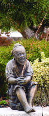 Sitting Oriental Man Fishing Garden Statue