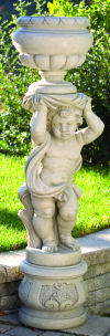 European Cherub Vase & Pedestal Right