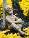 Seedlings Sitting Boy Garden Statue