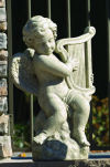 Cherub With Harp Garden Statue Cement