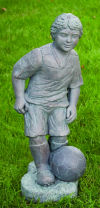 Soccer Player Boy Large Garden Sculpture