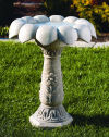 Daisy Bird Bath With Scallop Top Large