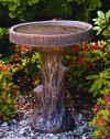 Tree Stump Bird Bath Cement Sculpture