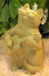 Cat W/guitar Sculpture 12.5