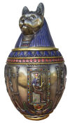 Bastet Cat Ceramic Canopic Jar Egyptian