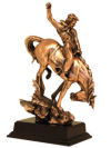 Racing Cowboy Down Hill Sculpture