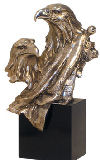 Two Eagle Heads Figurine Accent Scultpure