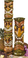 Aloha Hawaii Tiki Sculpture Set Of Two