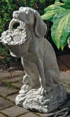 Best Friend Dog Statue with Basket of Flowers
