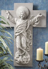 He Is Risen Christ Ascension Wall Frieze Sculpture