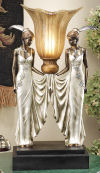 Art Deco Peacock Maidens Illuminated
