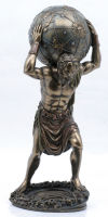 Atlas With Earth Sculpture Bronze Patinas