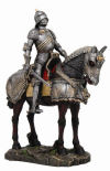 Armored Medieval Knight on Horse Statue