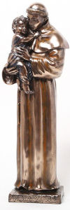 Saint Anthony and Child Statue Faux Bronze