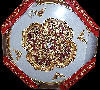 Fancy Ceiling Medallion Round with Red and Gold