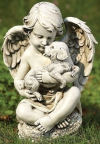 Cherub With Puppy Statue