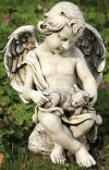Cherub With Kitten Garden Sculpture