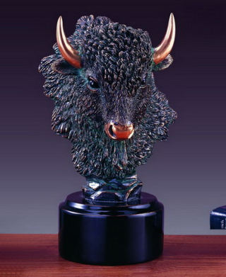 Buffalo Bust Sculptural Head Statue