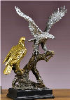 Two Eagles On Branch Large Scale Sculpture Multicolor