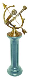 Brass Armillary Sundial On Iron Pedestal Base
