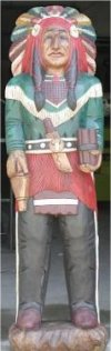 Chief Six Gun Cigar Indian Wood Sculpture