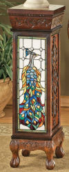 Peacock Stained Glass Illuminated Pedestal