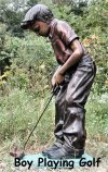 Boy Playing Golf Bronze Statue