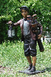 Golf Caddy Boy Holding Lantern Bronze Sculpture
