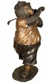 Golf Bear Bronze Sculpture