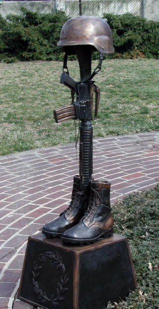 War Memorial Battle Cross Boots Gun Helmet Statue