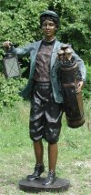 Golf Caddy Lawn Lantern Large Garden Statue