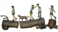 Four Children On Logs With A Dog